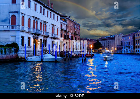 Sunset Rainbow in Venice Over Grand Canal - Stock Photo