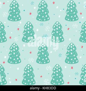 Seamless Christmas pattern with christmas trees, stars and snowflakes - Stock Photo