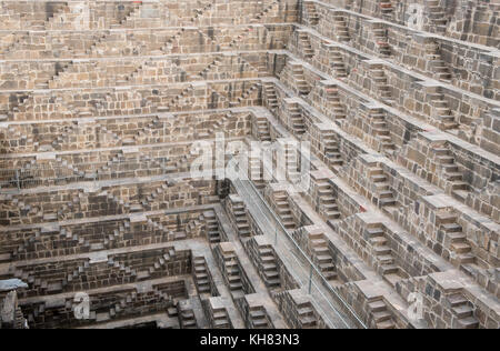 Details of the ancient stepwell of chand baori, at the village of  Abhaneri, near Jaipur, Rajasthan  in India - Stock Photo