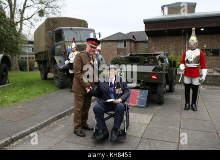 Colonel of The Life Guards and Gold Stick, Field Marshal, the Lord Guthrie of Craigiebank greets WWII veteran Mr - Stock Photo
