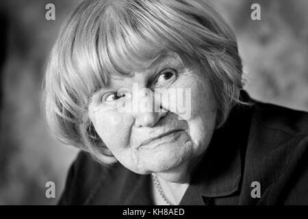 Photographer Jane Bown (13 March 1925 – 21 December 2014), B&W portrait - Stock Photo