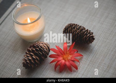 Celebration background with candle and pine cones - Stock Photo