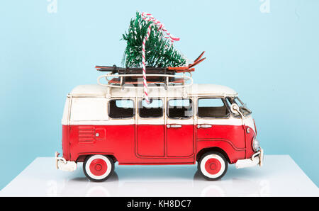 Old Toy Van with Christmas tree - Stock Photo