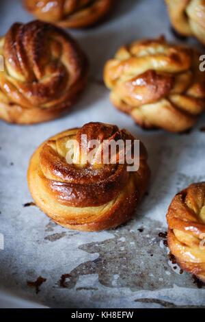 Kardemummabullar. Swedish cardamom buns - Stock Photo