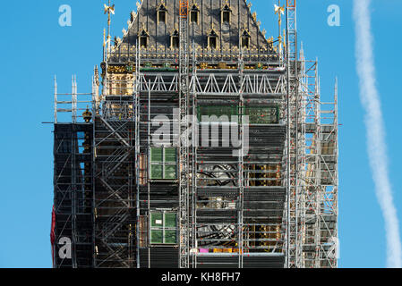 Big Ben Clock Tower now named the Elizabeth Tower at Palace of Westminster in London England is prepared for lengthy - Stock Photo