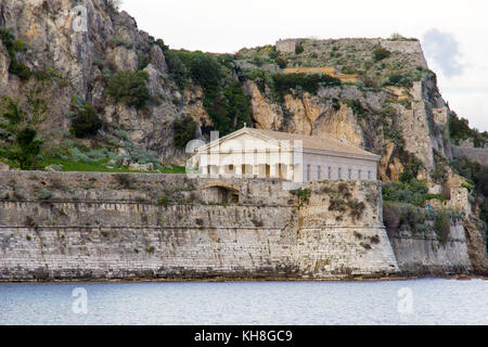 old greek temple inside the old fort of Corfu island in the afternoon - Stock Photo