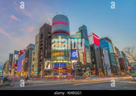 Japan, Tokyo City, Ginza area, Chuo  and Harumi Avenues crossing. *** Local Caption *** architecture, avenue, Chuo, - Stock Photo