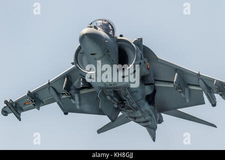 MOTRIL, GRANADA, SPAIN-JUN 11: Aircraft AV-8B Harrier Plus taking part in an exhibition on the 12th international - Stock Photo
