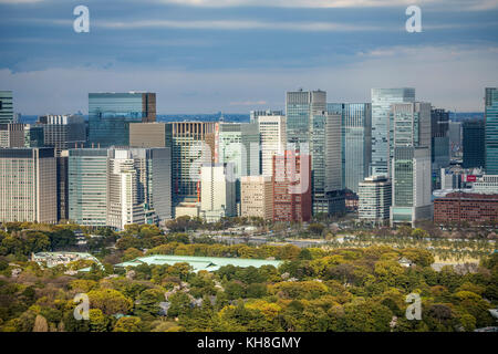 Japan, Tokyo City,   Imperial East Gadens ,Marunouchi district  skyline *** Local Caption *** architecture, Imperial - Stock Photo