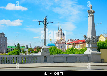 The view from the Stone bridge over the river Ushayka in the Central square of the city - Stock Photo