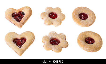 Collection of traditional Christmas cookies. Beautiful cut shapes combined with jam. Isolated on white background. - Stock Photo