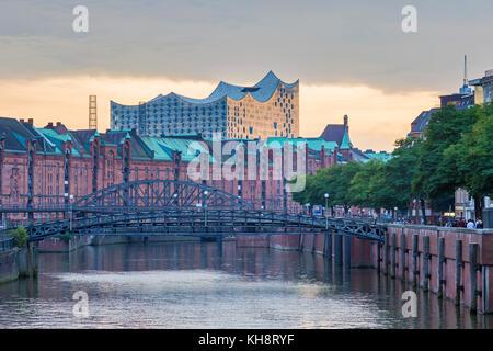 Zollkanal and the Elbphilharmonie / Elbe Philharmonic Hal in Speicherstadt, warehouse district, port of Hamburg, - Stock Photo