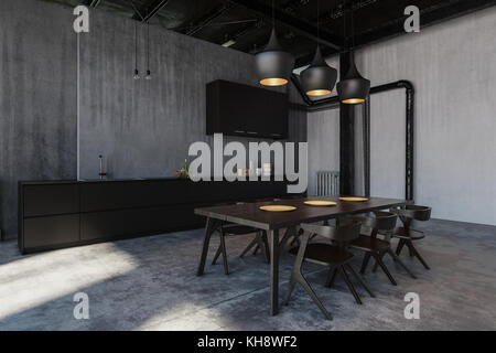 Furnished kitchen with dining room in loft style cold flat - Stock Photo