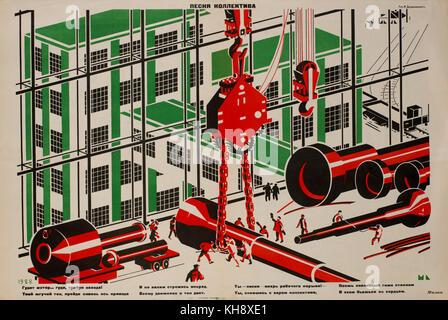 Soviet Propaganda Poster, 'Collective Song', Bezbozhnik Magazine, Illustration by Mechislav Dobrokovsky, 1928 - Stock Photo