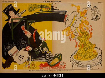 Russian Propaganda Poster, 'What We Do Not Like', Bezbozhnik u Stanka Magazine, Illustration by V. Lyushin, Russia, - Stock Photo