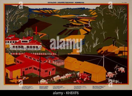Soviet Propaganda Poster, Agricultural Commune, Bezbozhnik u Stanka Magazine, Illustration by Dmitry Moor, Russia, - Stock Photo