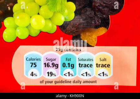 gda guideline daily amount nutritional information on pack of Tesco dried mixed fruit - Stock Photo