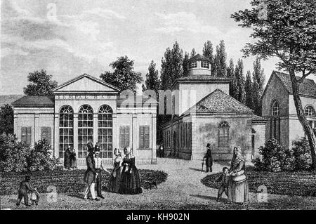 Tepliz - meeting place of Beethoven and Goethe in 1812. Spa town in the Czech Republic. Early nineteenth-century - Stock Photo
