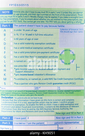 Nhs prescription charge medical exemption certificate london stock nhs prescription form fp10ss showing options where the patient doesnt have to pay because altavistaventures Image collections