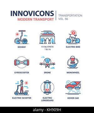 Modern transport - line design icons set - Stock Photo