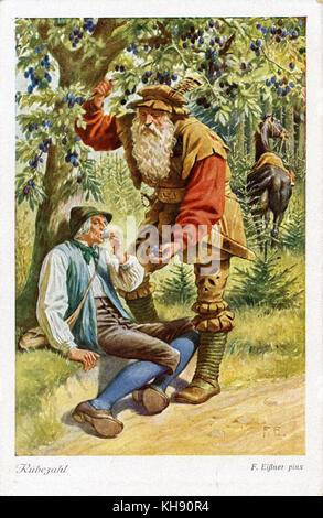 Rübezahl - a German woodwose or mountain spirit of the Giant Mountains (on the Bohemian-Silesian border). Illustration - Stock Photo