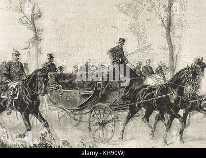 Franco-Prussian War. 1870-1871. Napoleon III Bonaparte (1808-1873) taken prisoner by the Prussian army after the Battle of Sedan (September, 1870). Engraving. 19th century.
