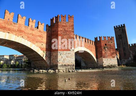 Verona, Ponte di Castel Vecchio bridge (Scaliger Bridge) - Stock Photo