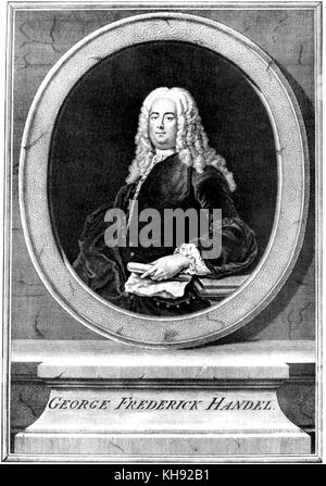 George Frederic Handel. Portrait by unknown artist.  German-English composer, 23 February 1685 - 14 April 1759. - Stock Photo