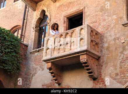 Juliet's Balcony. House of Romeo and Juliet, Verona - Stock Photo