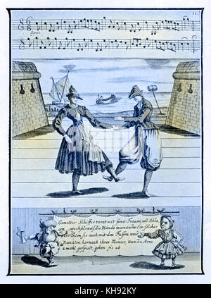 Dance of the German fishermen  - from engraving published in Lambrauzi's Ecole de Danse. Ballet dances of 17th/18th - Stock Photo