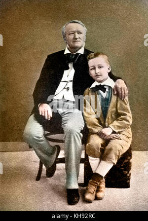 Richard Wagner with his son Siegfried as a young boy. RW: German composer & author, 22 May 1813 - 13 February 1883. - Stock Photo