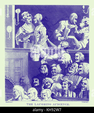 'The Laughing Audience' by William Hogarth, 1733. Originally called 'A Pleased Audience at a Play'. Audience enjoying - Stock Photo