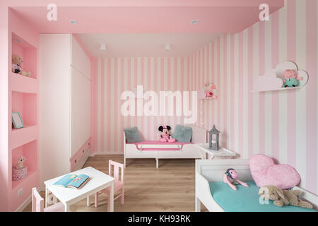 Trendy cozy white room of child with fun pillows Stock Photo ...