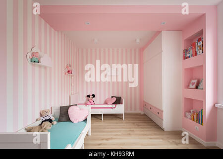 Pink baby room with striped wall and white furniture Stock Photo ...
