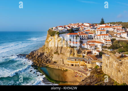 View of seaside town Azenhas do Mar. Municipality of Sintra, Portugal - Stock Photo