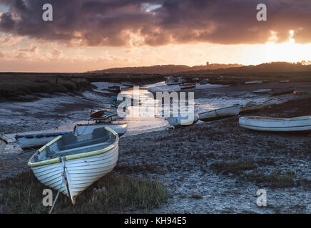 Morston Creek at Sunrise on a low tide, Norfolk - Stock Photo