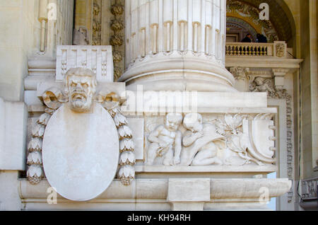 Paris, France. Grand Palais des Champs-Élysées: facade detail. - Stock Photo