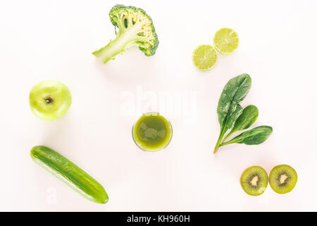 glass of detox drink and fresh food - Stock Photo