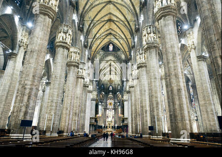 Italy. Lombardy. Milan Cathedral, Duomo di Milano, one of the largest churches in the world. The nave - Stock Photo