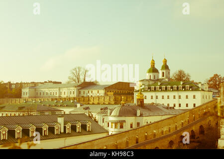Panoramic view of the distant and near caves of the ancient Christian monastery in Kiev, Ukraine. Kiev-Pechersk - Stock Photo