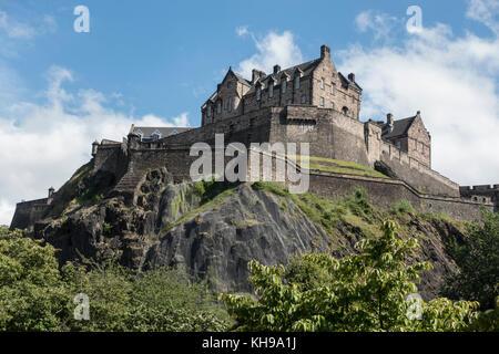 Edinburgh Castle A Fortress High On Castle Rock Edinburgh Scotland Seen From West Princes Street Gardens - Stock Photo