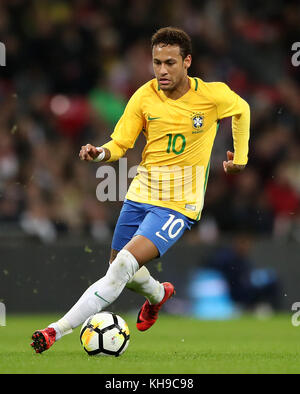 Brazil's Neymar during the Bobby Moore Fund International match at Wembley Stadium, London. PRESS ASSOCIATION Photo. - Stock Photo