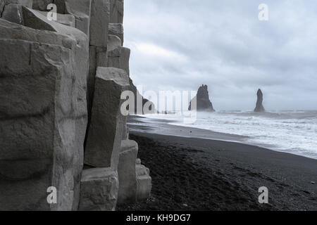 Stormy day along Reynisfjara Beach near Vik, South Iceland - Stock Photo