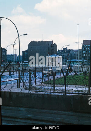 Photo taken in August 1965 showing view from the West German side of Berlin, across the Berlin Wall, to East Berlin - Stock Photo