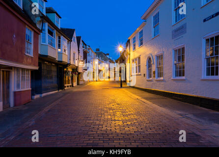 The Medieval buildings of West Street during the Blue Hour after sunset, in the market town of Faversham, Kent, - Stock Photo