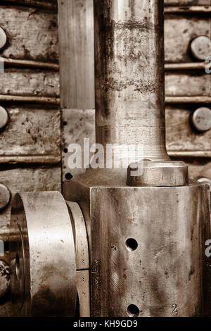 Engine valve detail of and second war world submarine. Power - Stock Photo