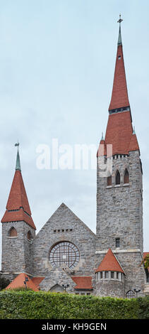 Tampere stone cathedral. Finland landmark architecture building heritage. Vertical - Stock Photo