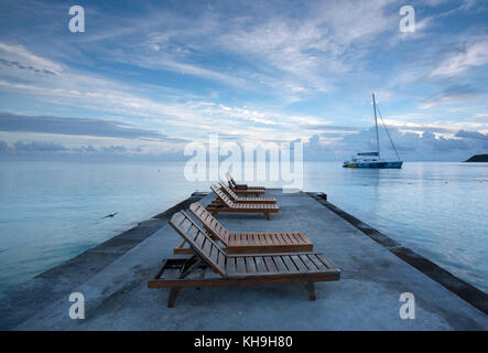 Lovely ... Deck Chairs On Jetty Near Ocho Rios, Jamaica, Caribbean, West Indies    Stock