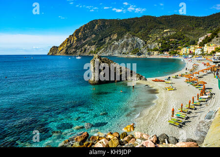The sandy beach resort on the new side of the Italian town of Monterosso Al Mare, part of the Cinque Terre coastal - Stock Photo