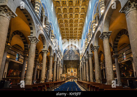 Interior of the Duomo cathedral on the Piazza dei Miracoli in the Tuscan city of Pisa, Italy - Stock Photo
